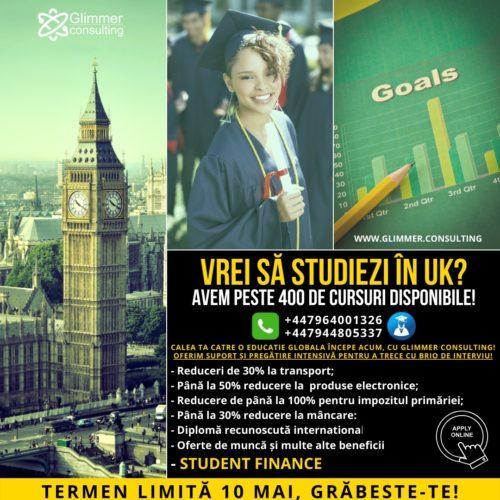 Planuiesti sa studiezi in UK in 2020? Termen limită 10 MAI. Aplica acum, grăbeste-te!